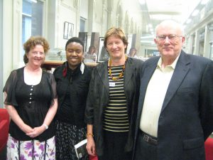 At the 2014 Fellowship award in Melbourne, from left, Fellowship judge Janine Burke, Fellowship winner Maxine Beneba Clarke, Della Rowley and Fellowship judge Jim Davidson.