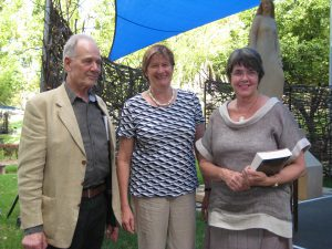 At the 2013 Fellowship announcement at the Adelaide Writers Week, from left, Alex Miller, Della Rowley and Stephany Steggall.